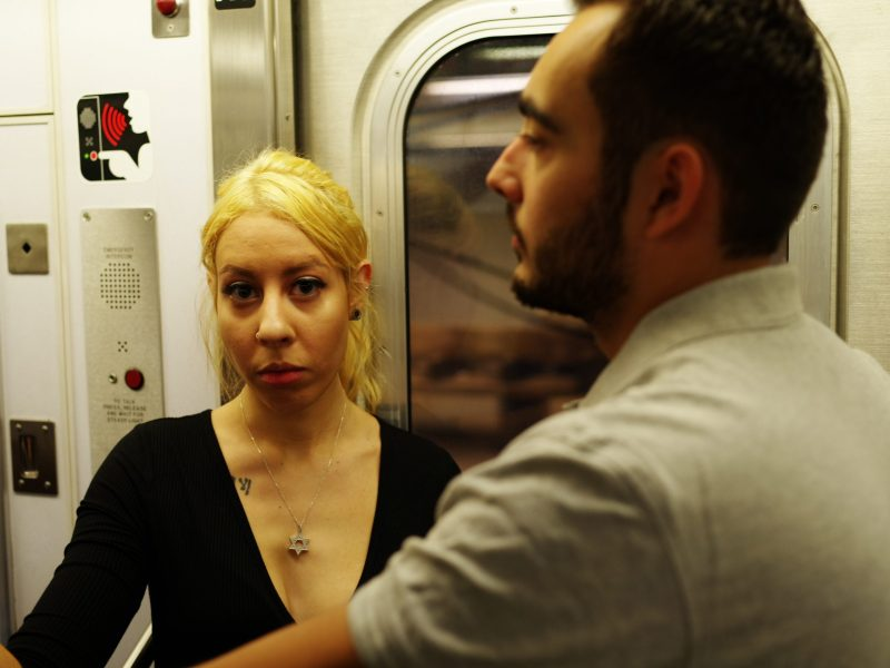 """Woman in New York Metro who is looking directly at me with eye contact. The dynamic tension of, """"What is she going to do, or say next?"""""""