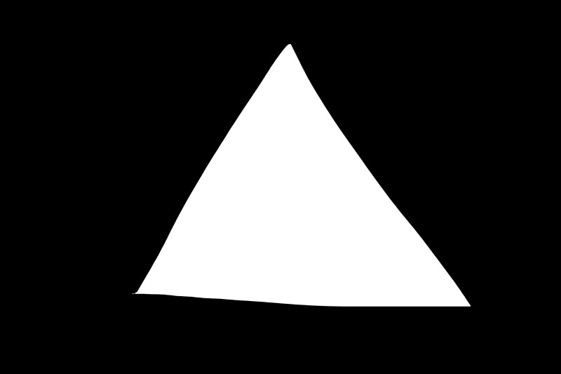 White triangle on black background.