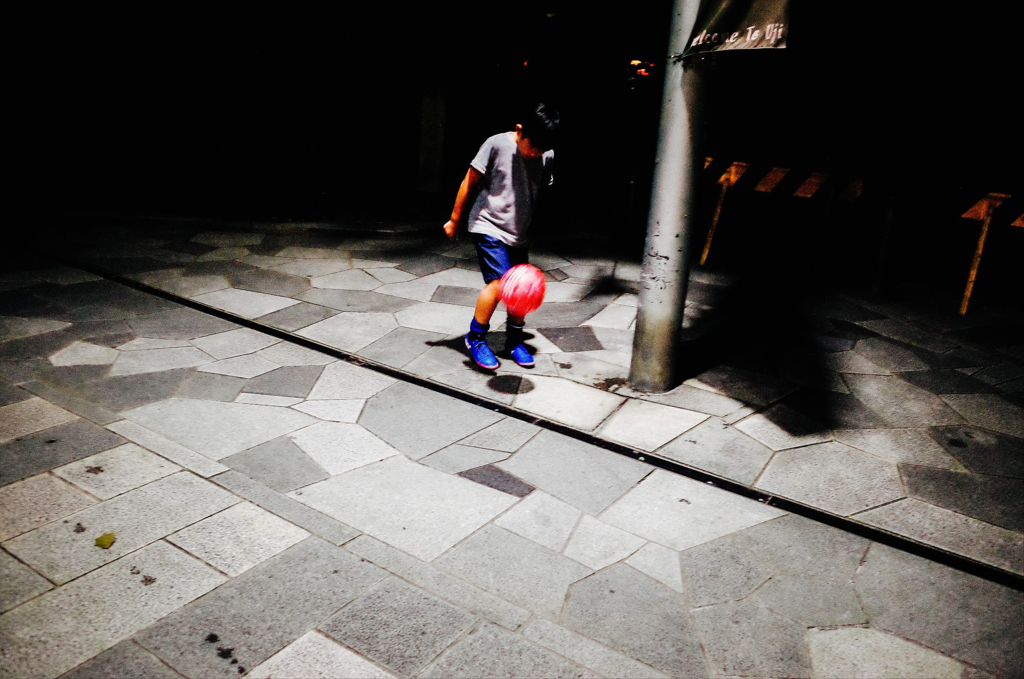 Boy with pink soccer ball. Uji, Kyoto 2017