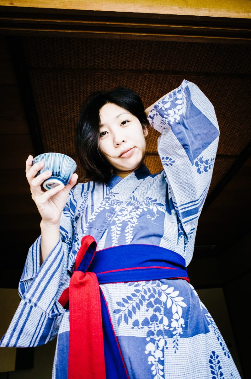 Cindy in blue Yukata. Uji, Kyoto 2017