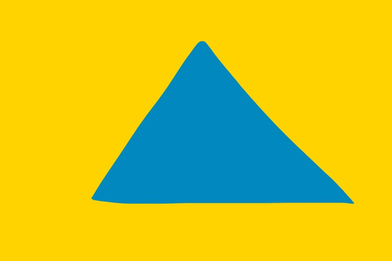 Blue triangle on yellow background.