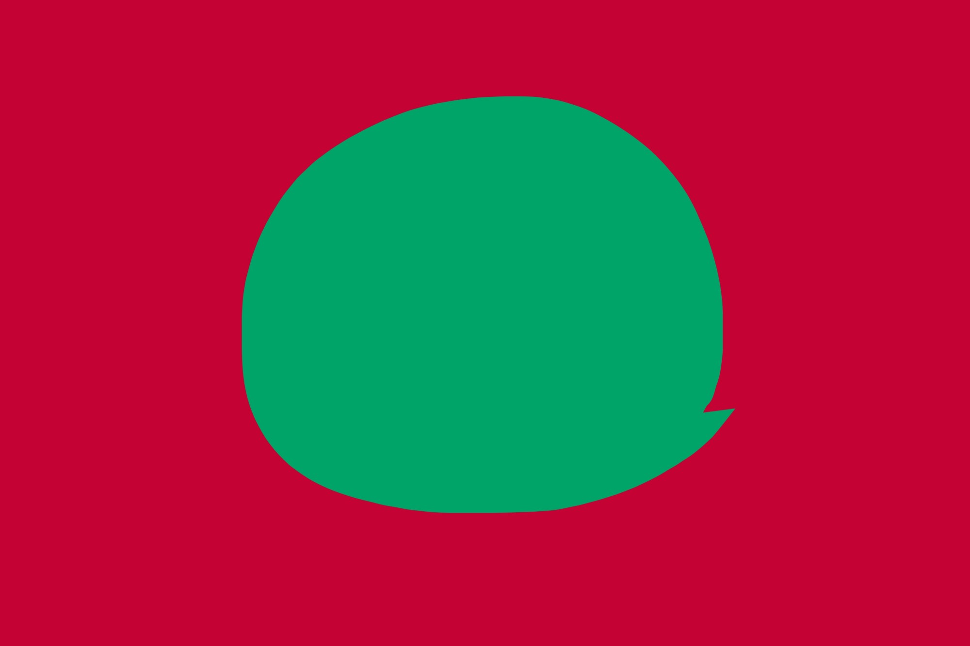 Strong figure to ground: green circle against red background.
