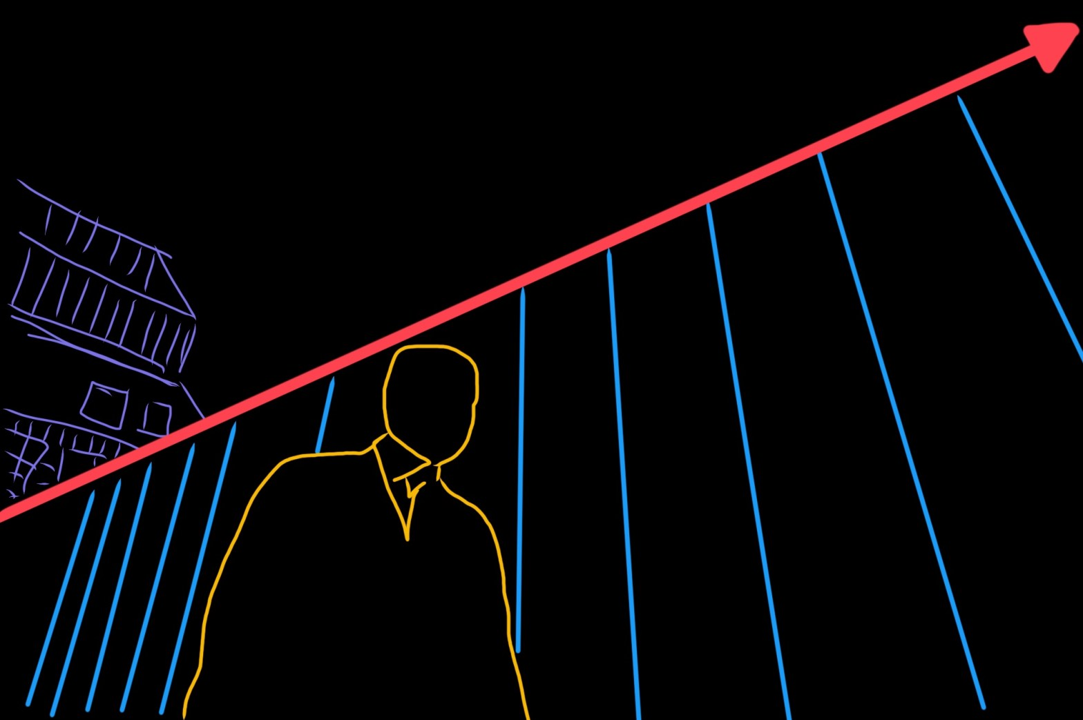 Abstract image, outlining the man (yellow), the background (blue) and the leading line (red)