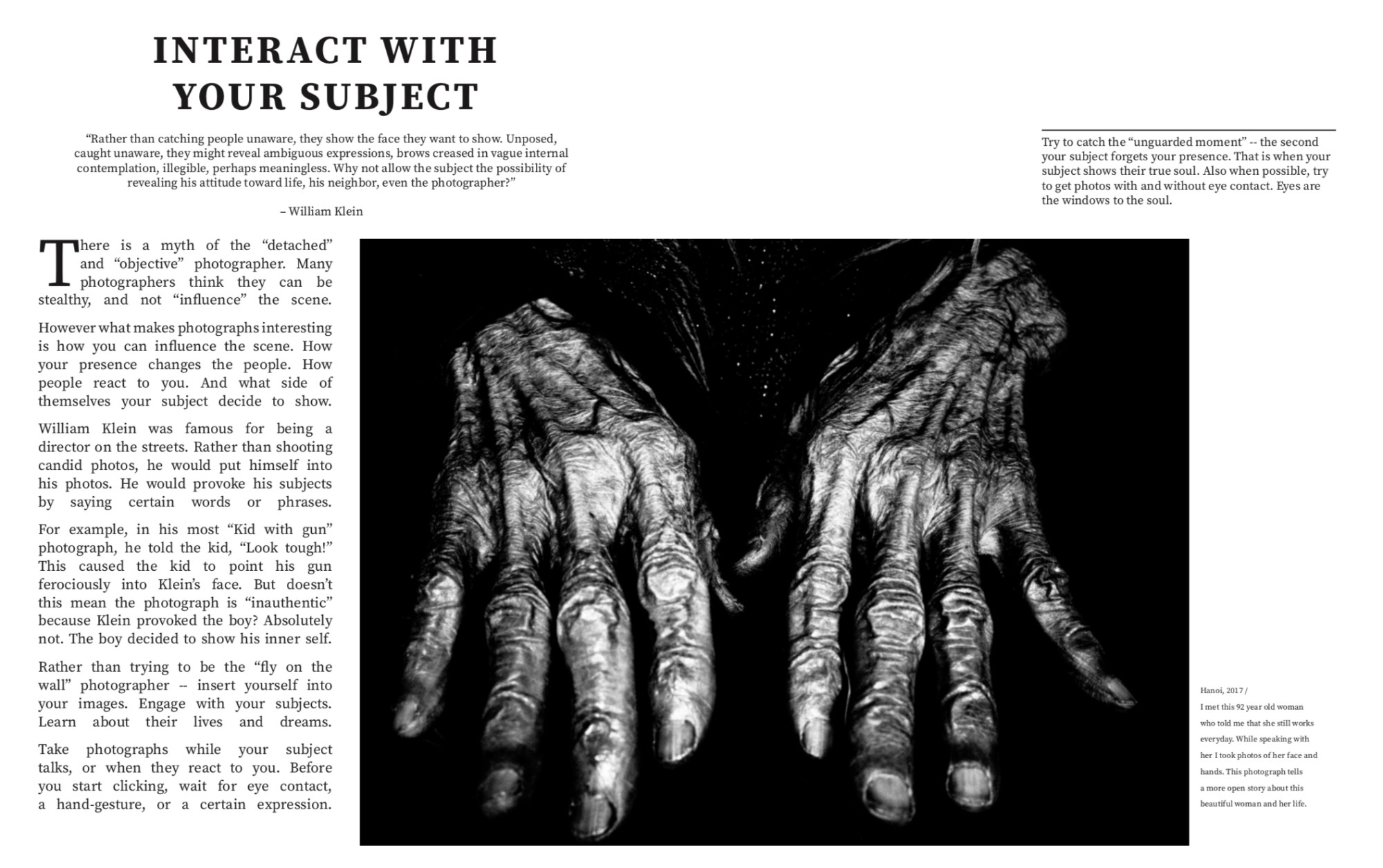 Interact with your subject // spread from MASTERS