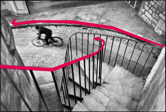 Red leading lines of the composition of Henri Cartier-Bresson's Bicycle Shot.