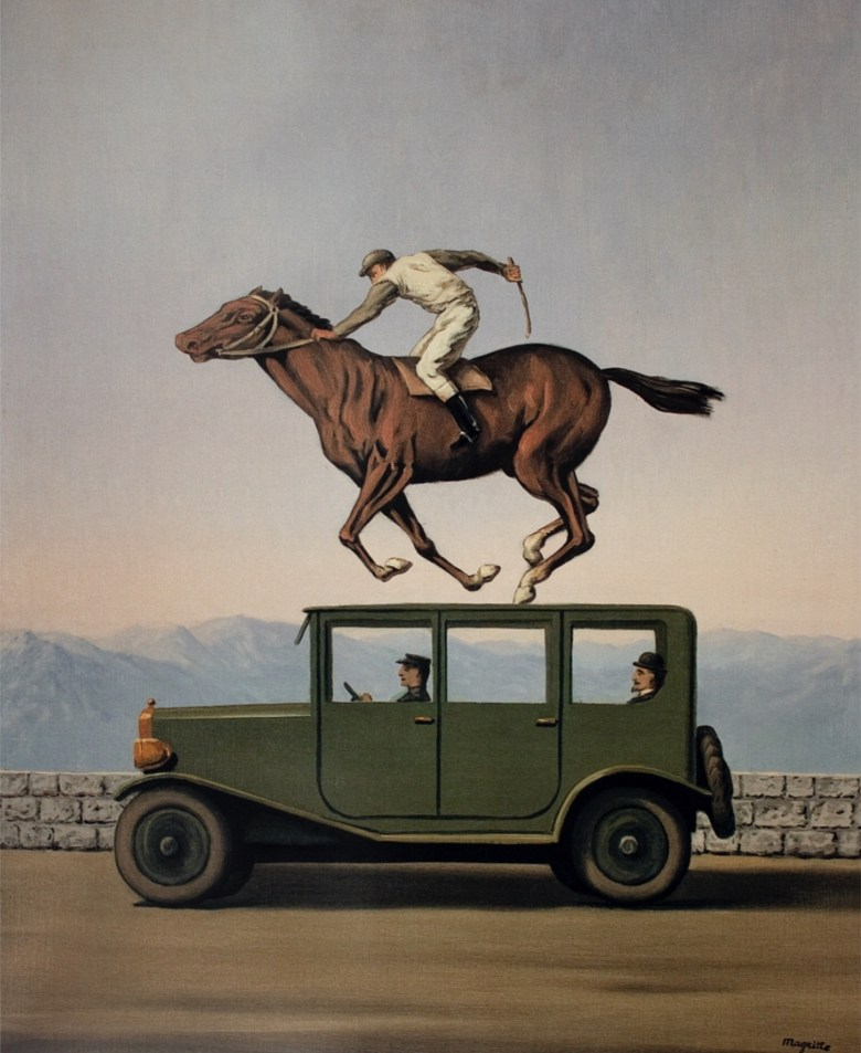 Magritte jockey painting. Note how it looks like the jockey is on top of the car.