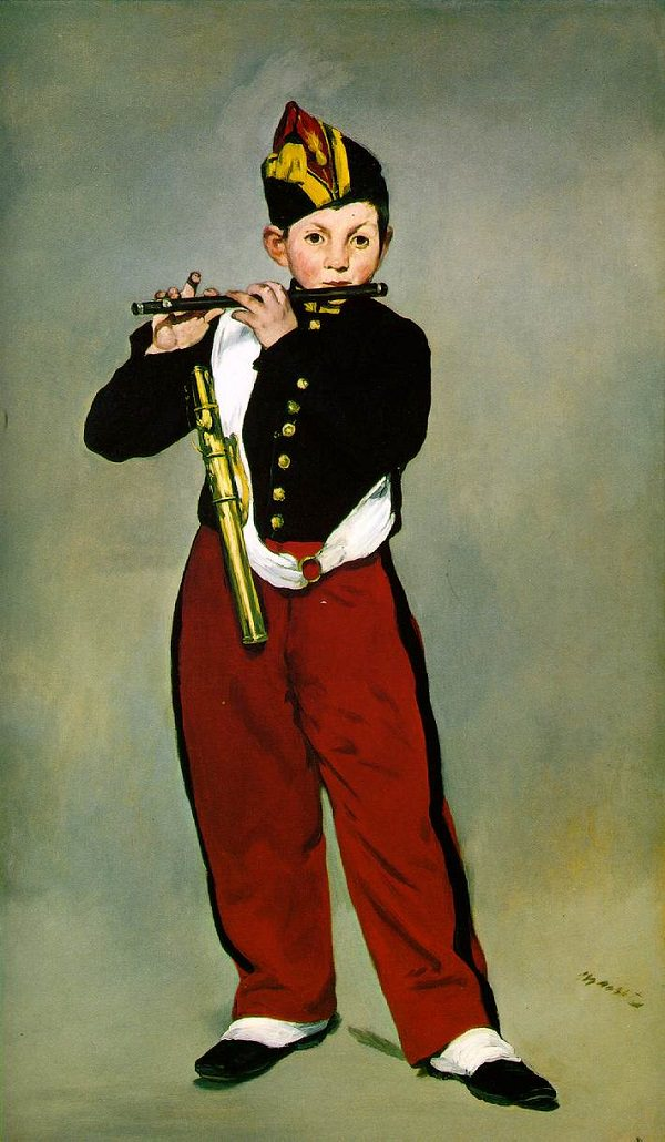 Edouard Manet, green background and kid with red pants