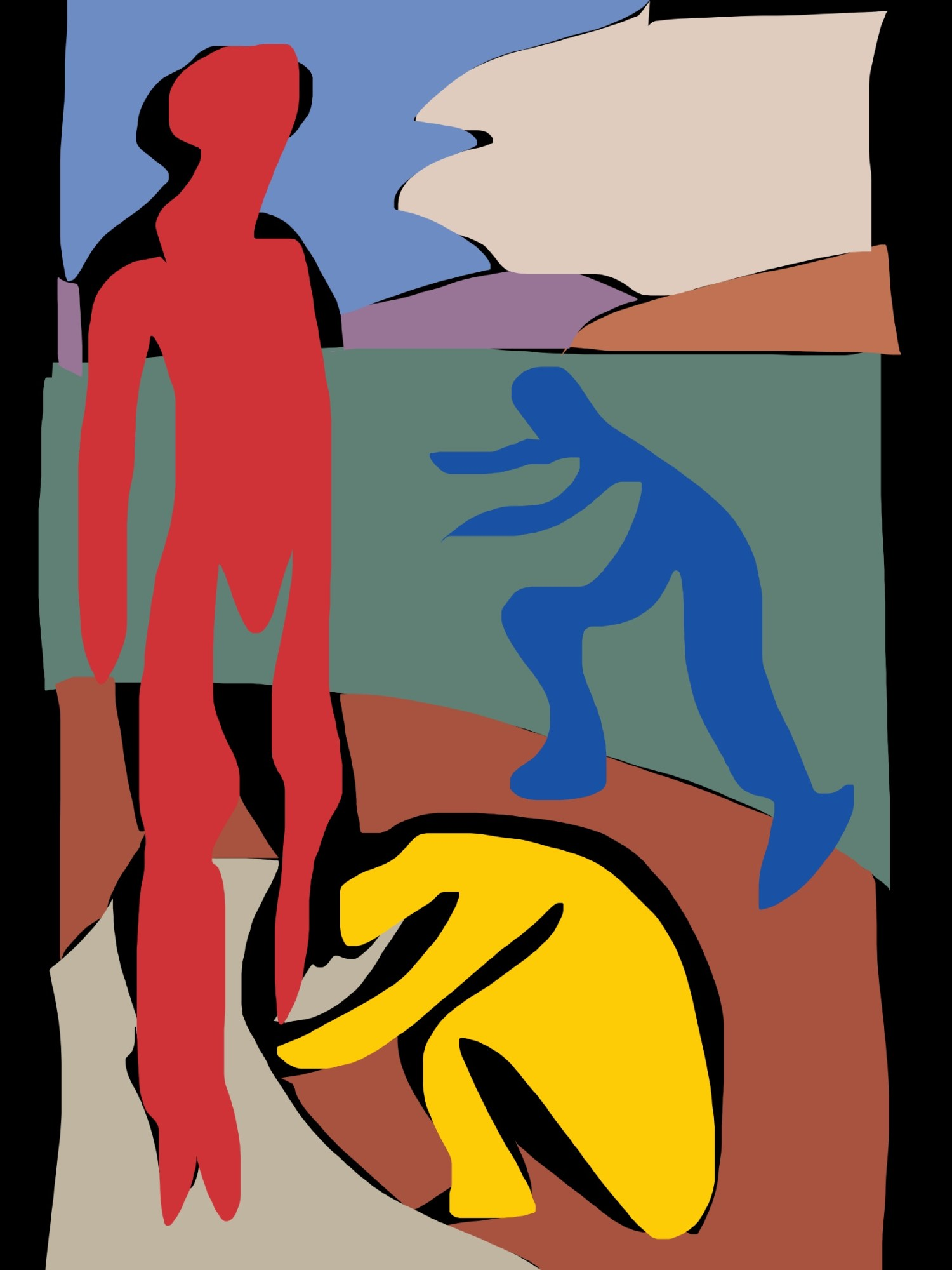 Triangle composition. Three subjects abstracted by Matisse, into red, blue, yellow.