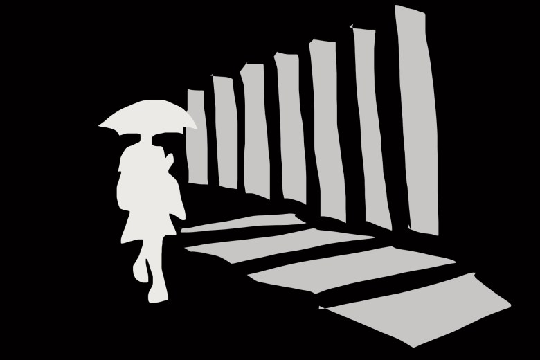 Abstract walking woman with umbrella. Seoul. 2009