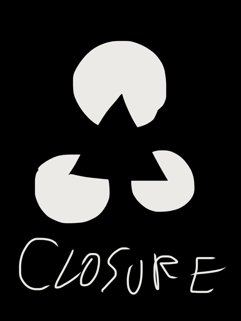 Closure: gestalt theory, our eyes see a triangle even though there really isn't one.