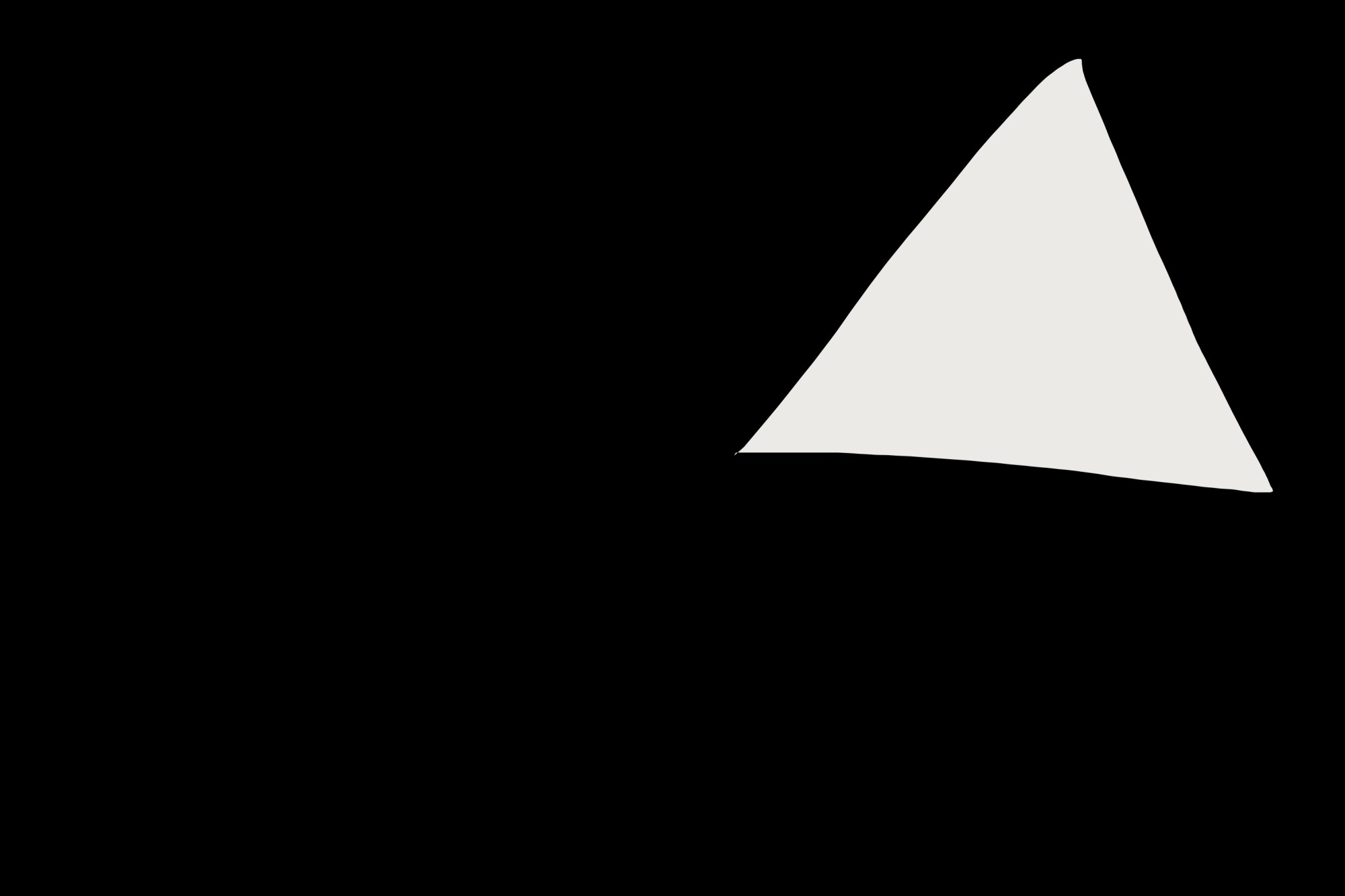 Good closure: Black space around white triangle. Gestalt theory.