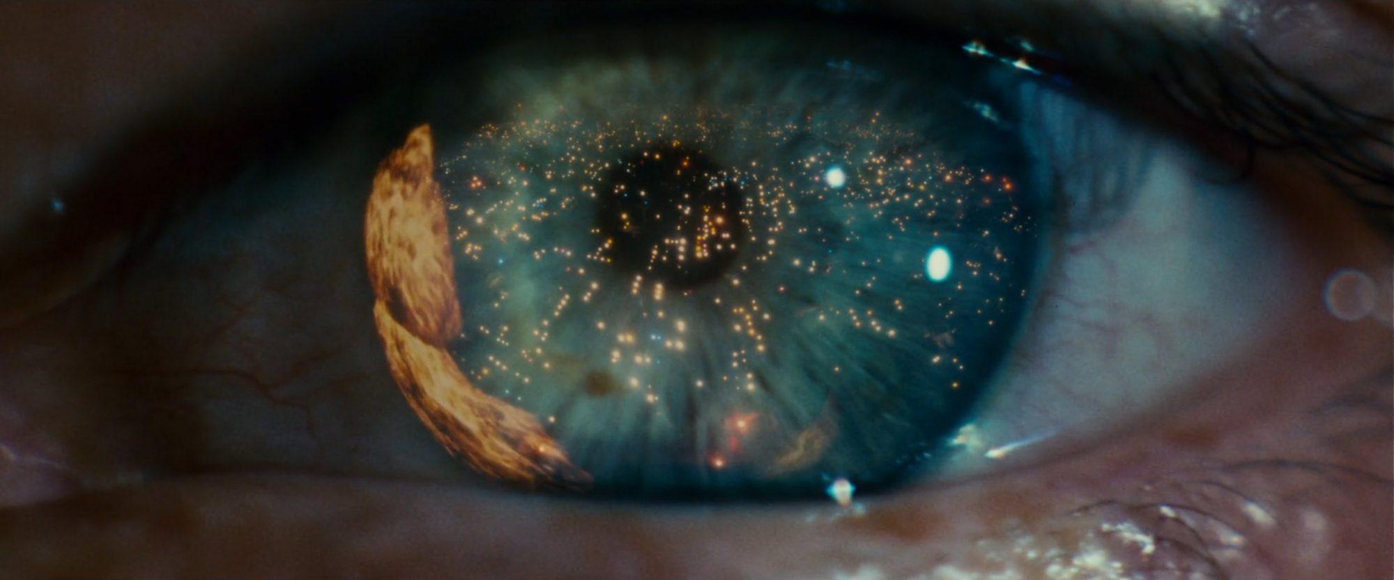 Ridley Scott, closeup of eye, beginning of blade runner movie
