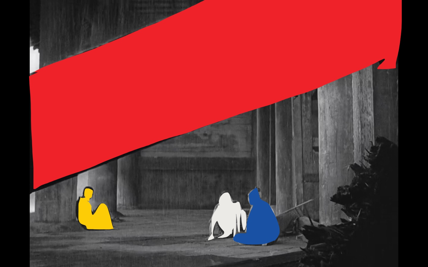 Kurosawa Rashomon still. Note how the blue and the white subjects are a group, because they are next to one another. Distant in another group, is the man in yellow.