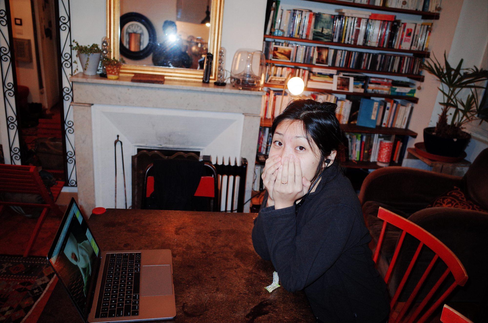 Cindy watching her show. Marseille, 2017