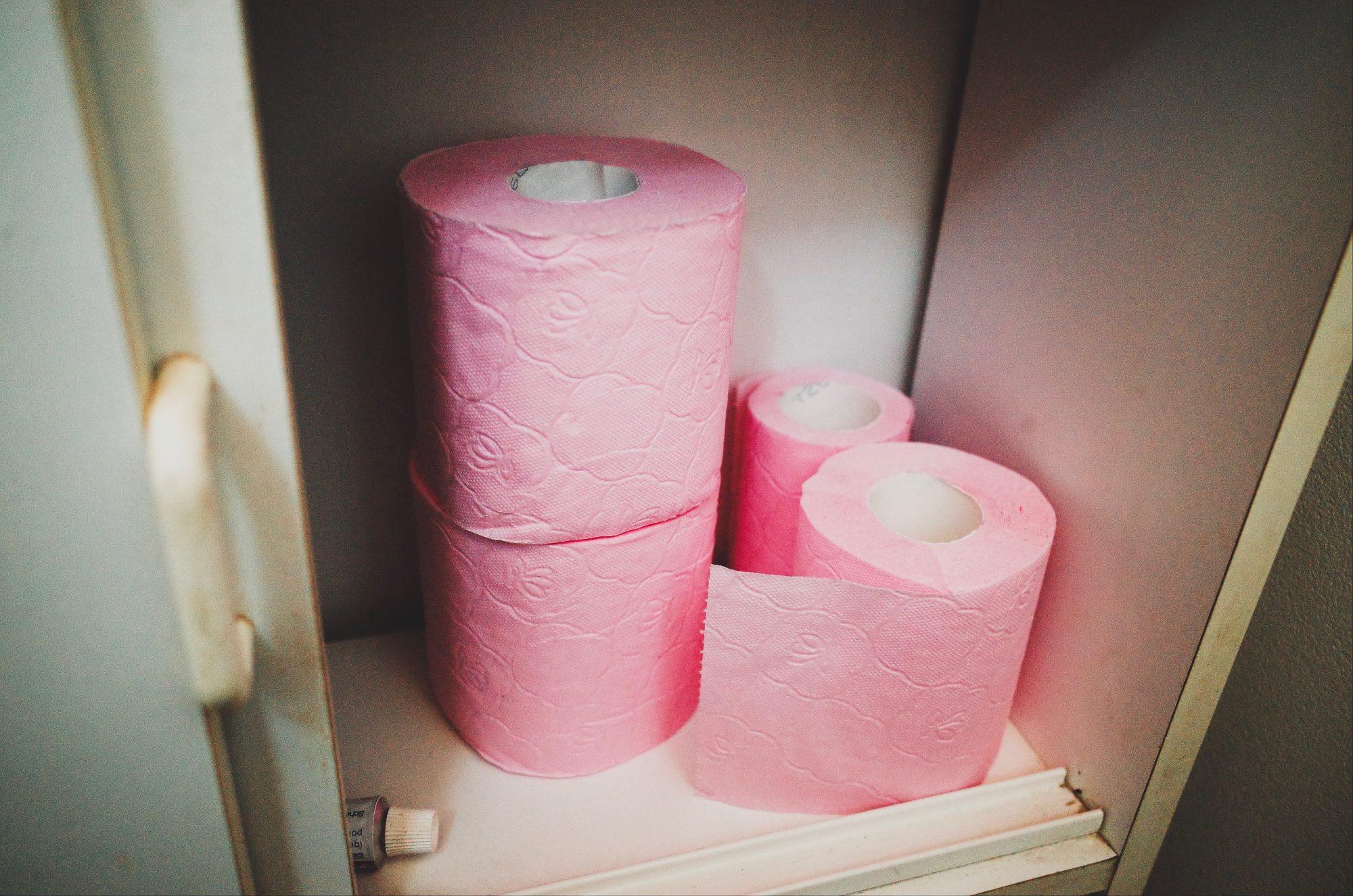 Pink toilet paper. Marseille, 2017