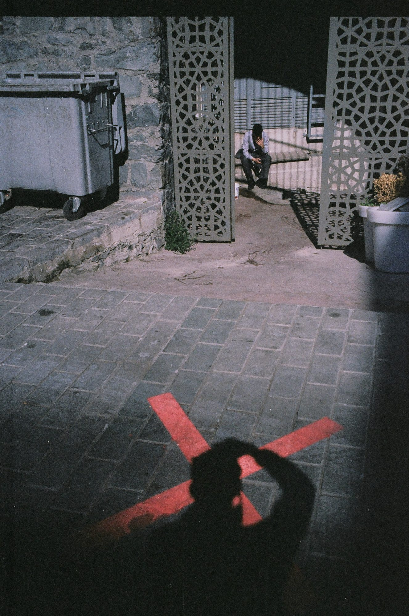 Selfie with X on my shadow, Istanbul street photo, 2013