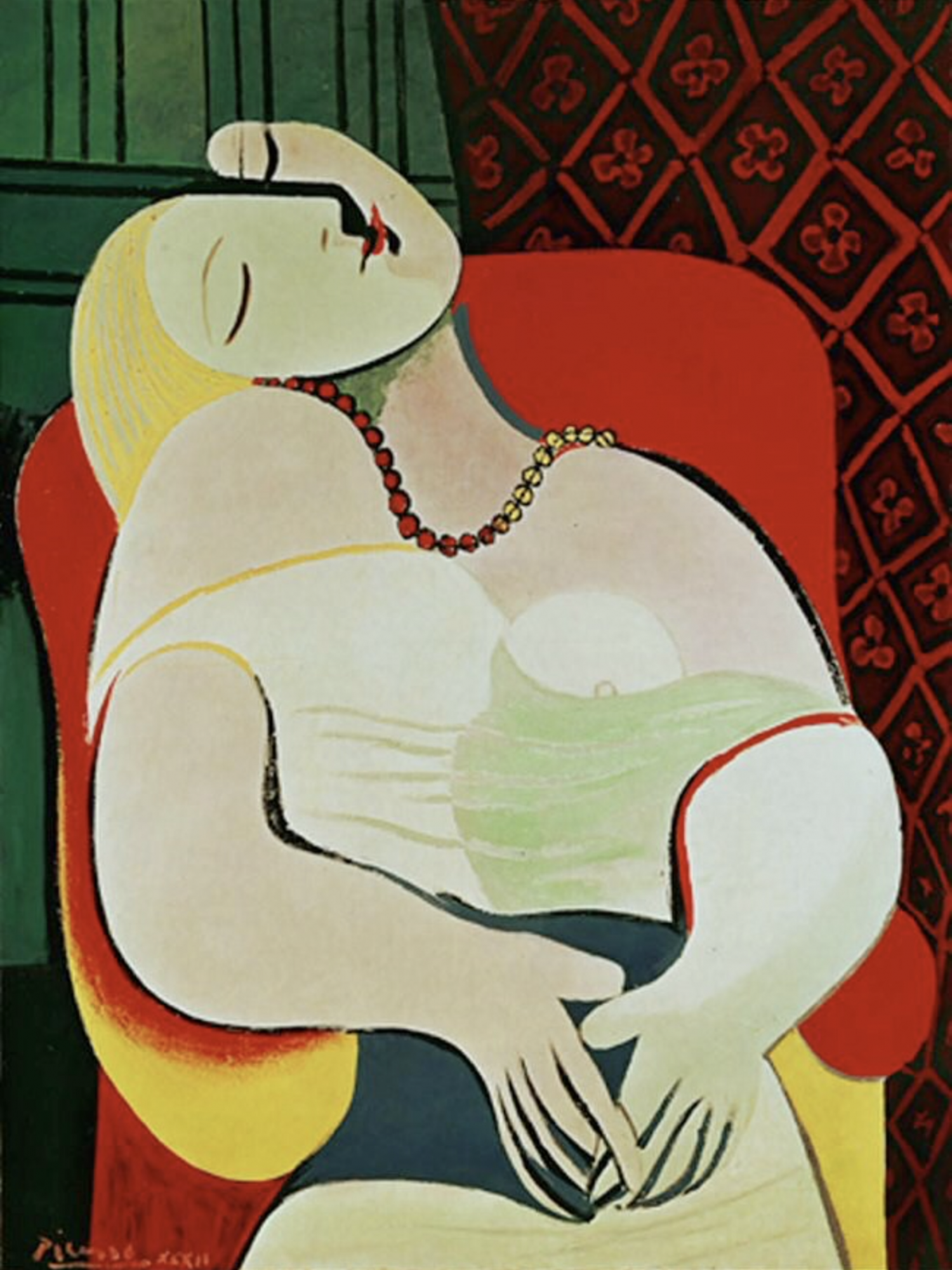 Picasso woman, red chair against green background