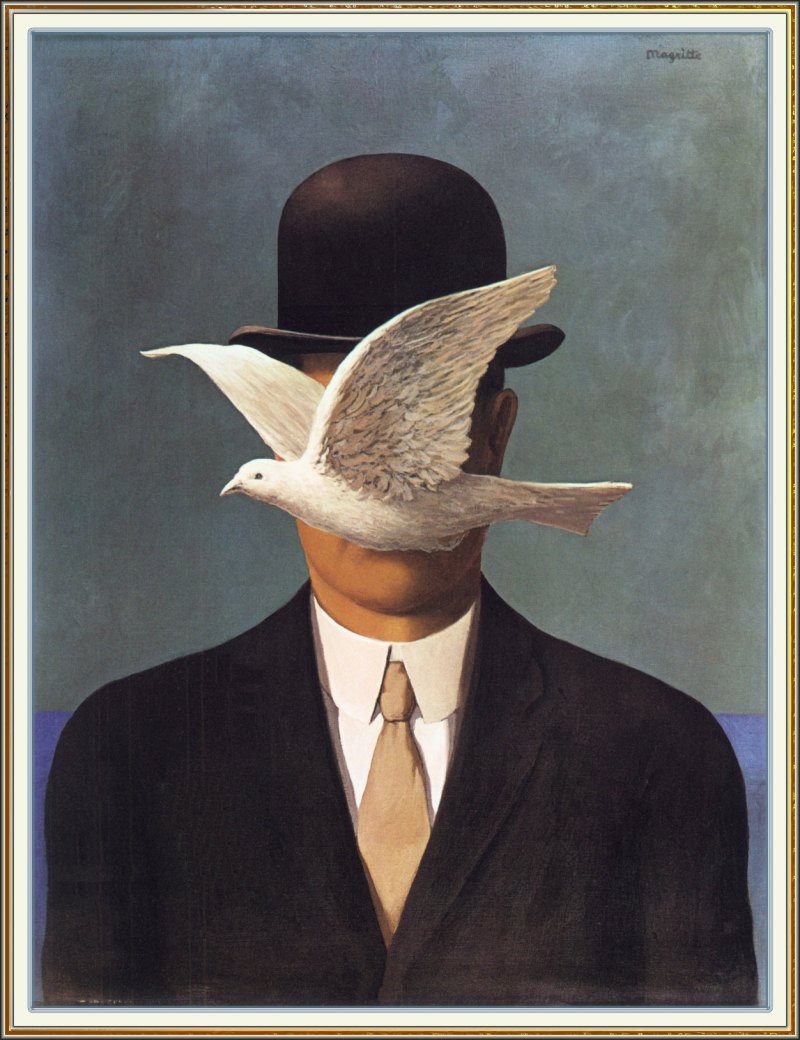 Man in bowler hat by Rene Magritte. Note how the face is obscured by the dove.