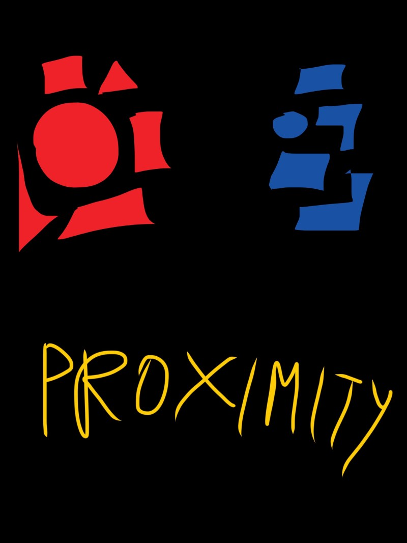 Proximity: gestalt theory. Red objects seem to be the same group, and blue objects are the same group too.