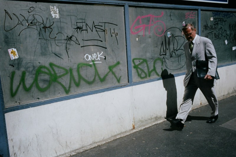 Suit and graffiti