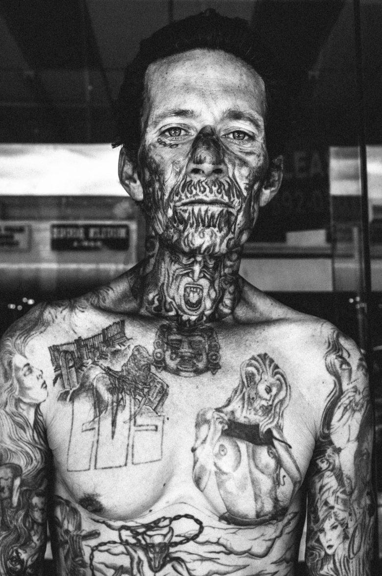 Face tattoo man, Downtown LA