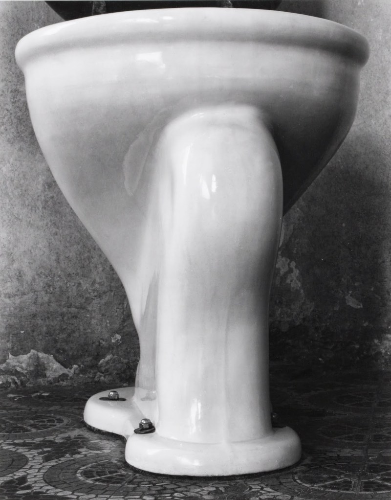 "Toilet by Edward Weston. For two weeks Weston studied and photographed the ordinary plumbing fixture from different angles. For this version he dispensed with the tripod, rested his 8 x 10-inch Seneca view camera on the floor, and directed the lens upward, lending unexpected volume and monumentality to his subject. He wrote that the ""swelling, sweeping, forward movement of finely progressing contours"" reminded him of the Victory of Samothrace."