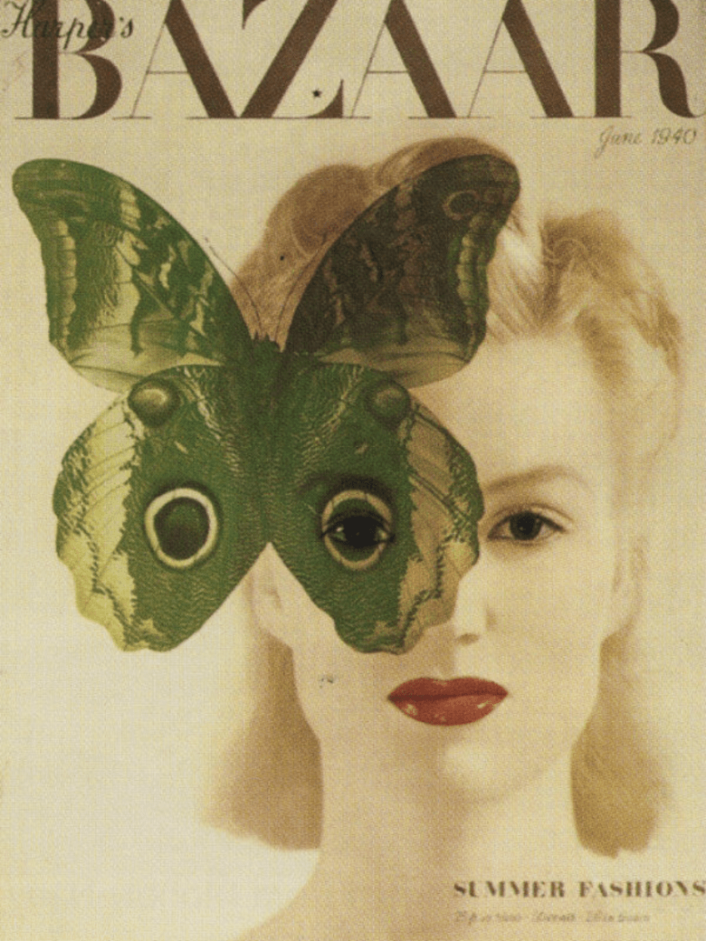 Harper bazaar cover, green butterfly and red lips of woman