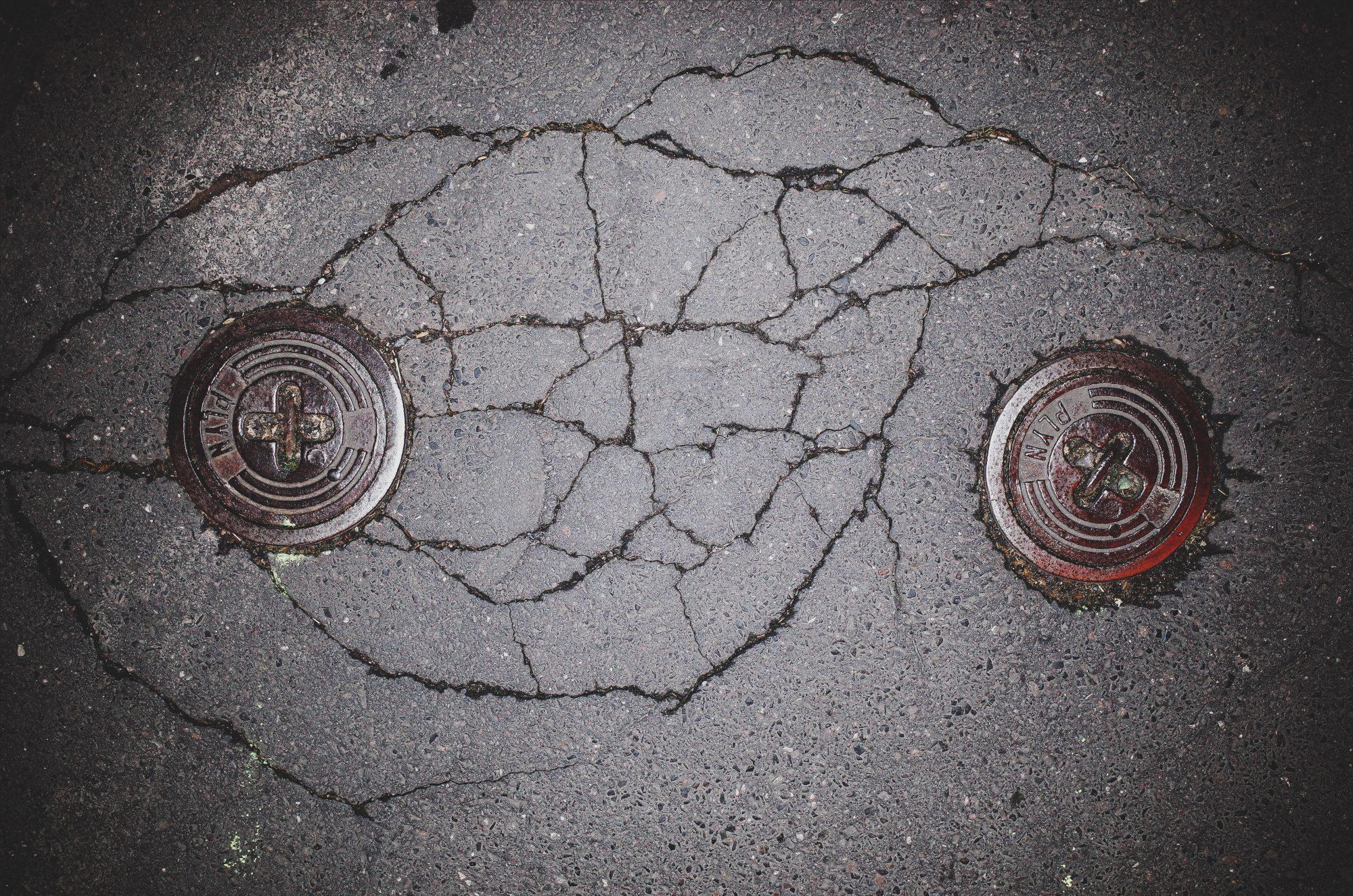 Eyes abstract. Prague pavement, 2017