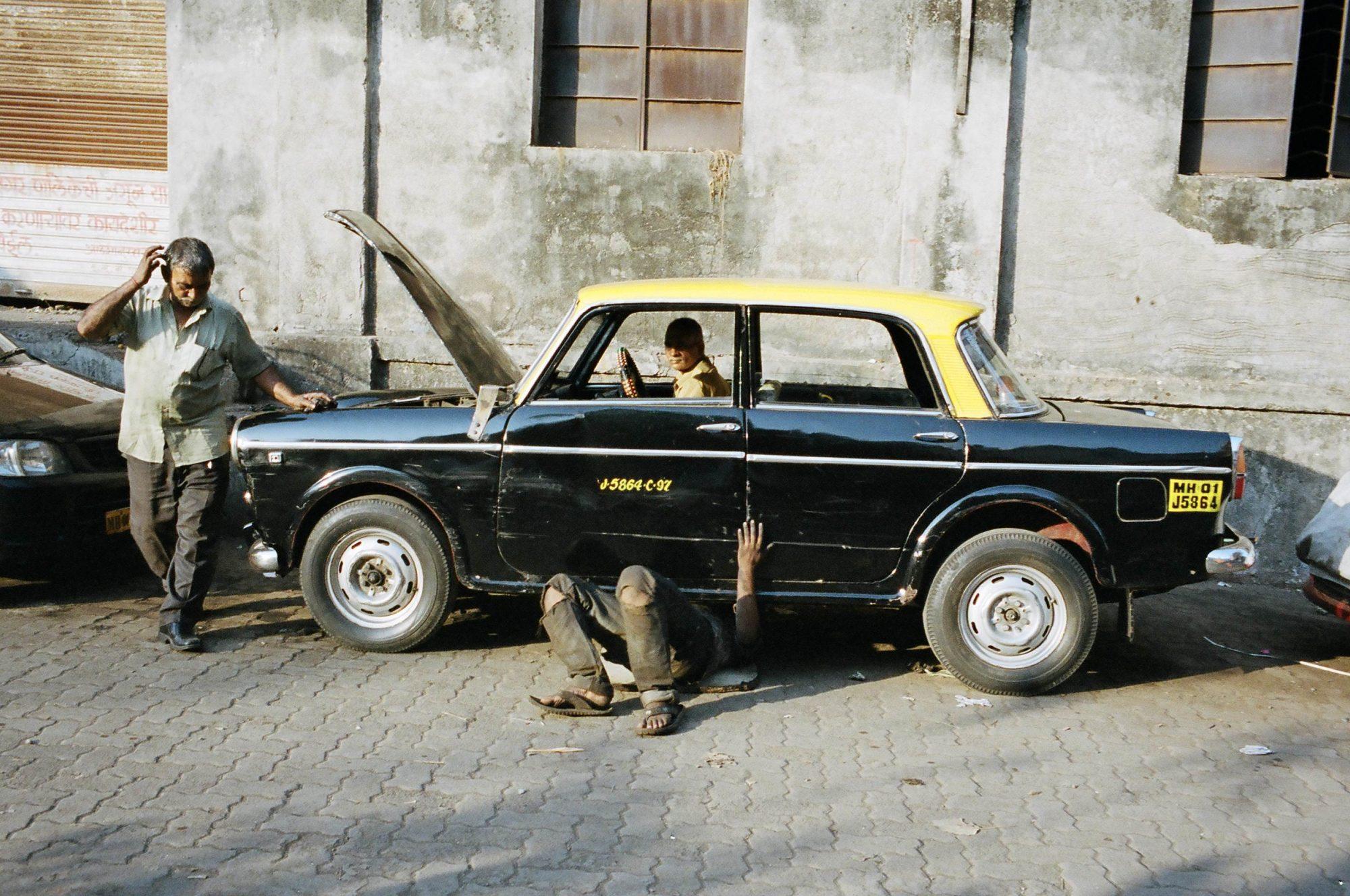 India surreal street photograph of taxi. Mumbai, 2013