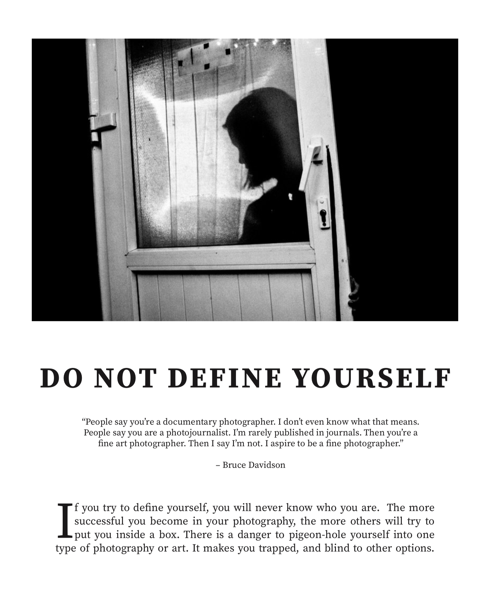 Do not define yourself /. Spread from MASTERS by HAPTICPRESS