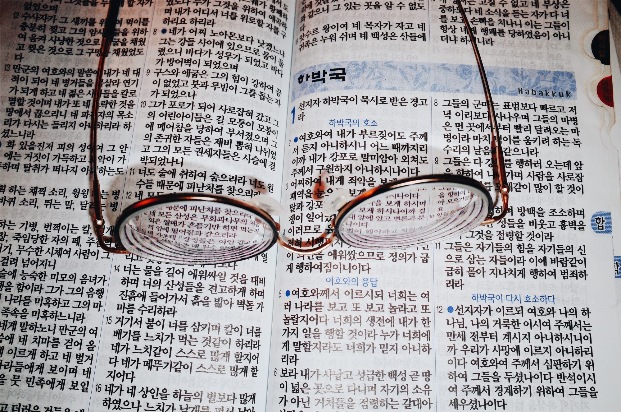 My moms glasses and the Korean bible. Marseille. 2017