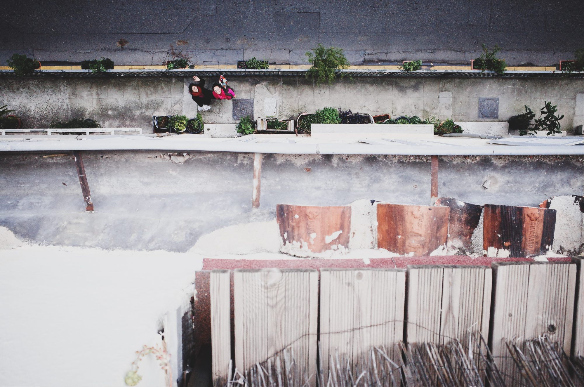 Shot from patio, looking down. High perspective photo. Marseille, 2017
