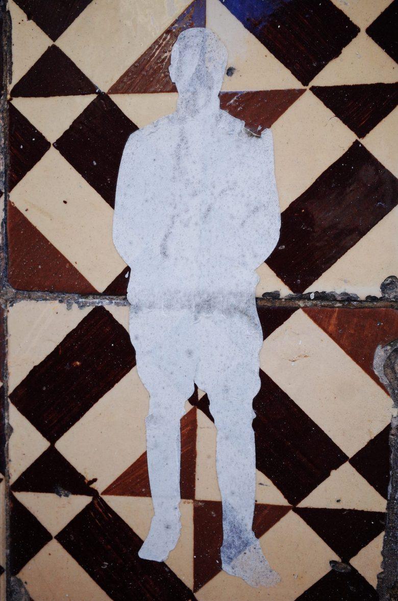 Man cutout and Lisbon tiles.