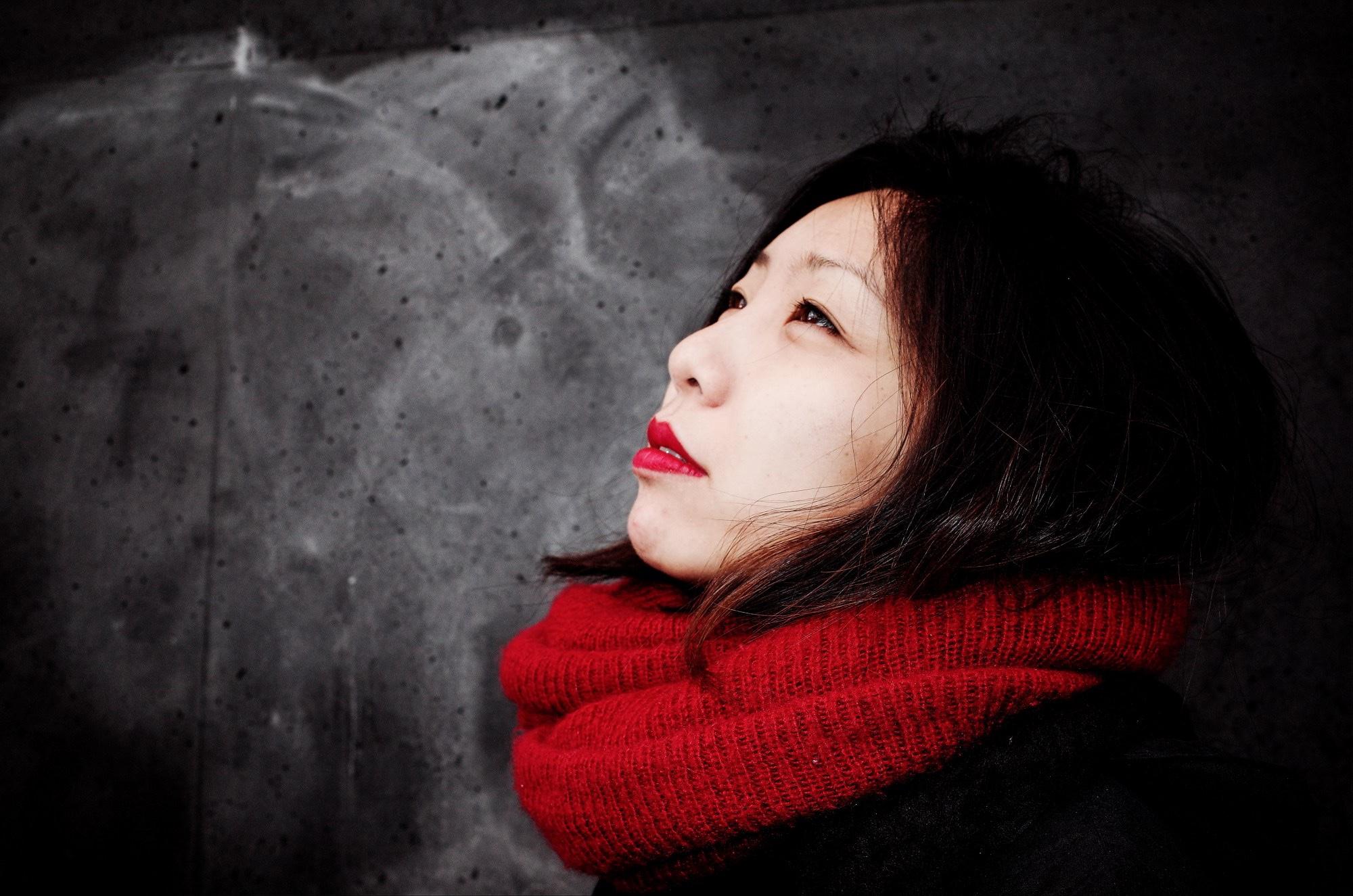 Cindy red scarf selfie Berlin, 2017 #cindyproject