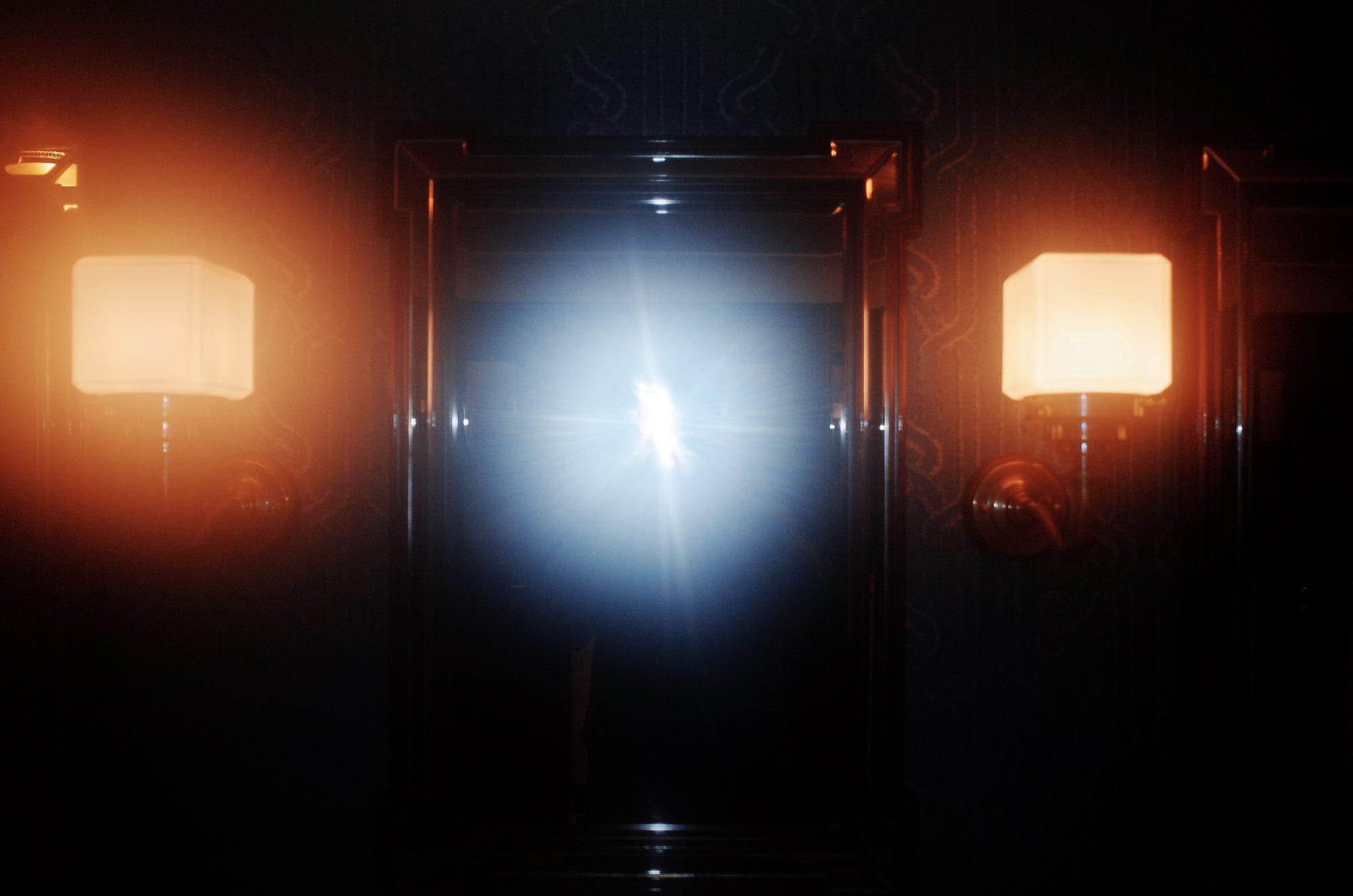 Foggy out of focus selfie in London bathroom, 2018