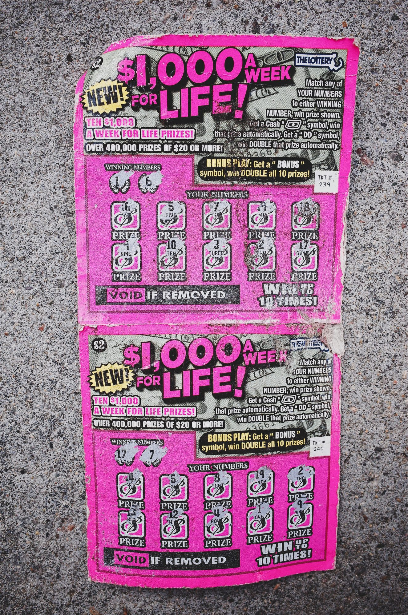 1,000 a day for life! Boston, 2018 // lottery scratcher