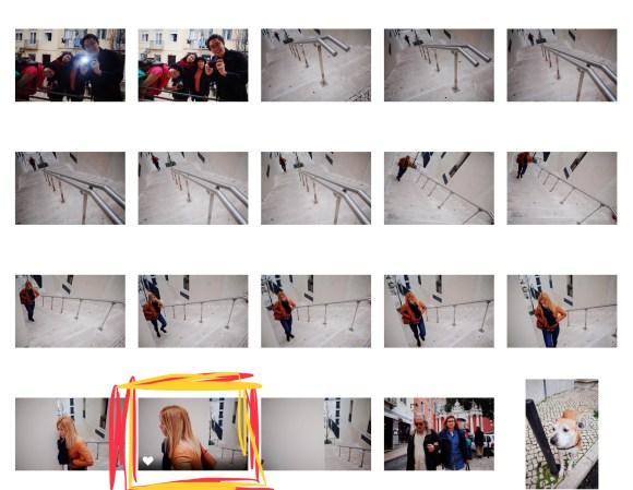 Lisbon contact sheet walking woman