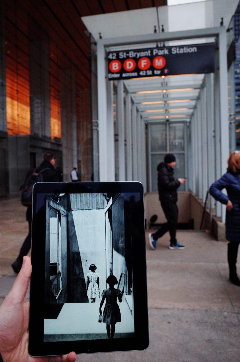 Sergio Larrain photo next to New York City Subway.