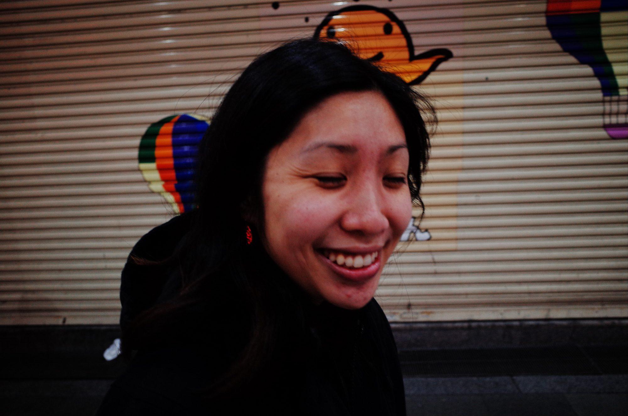 Cindy laughing. Osaka, 2018