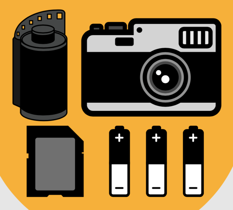 camera film, camera, sd card, batteries