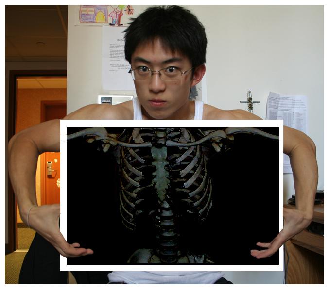 Photoshopped selfie of myself in my freshman dorm room at UCLA. 2007 / skeleton