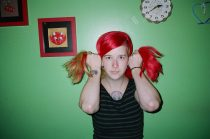 Red hair, greenbackground. Philly, with flash. 2013, Kodak Portra 400
