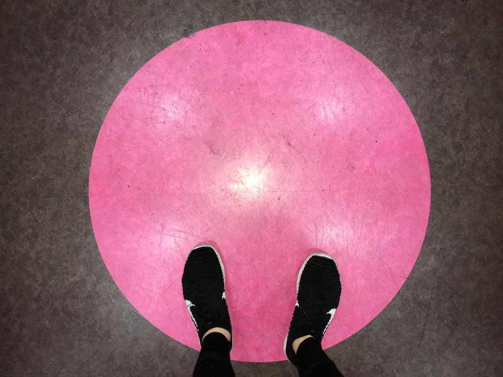 Pink dot shoes walking