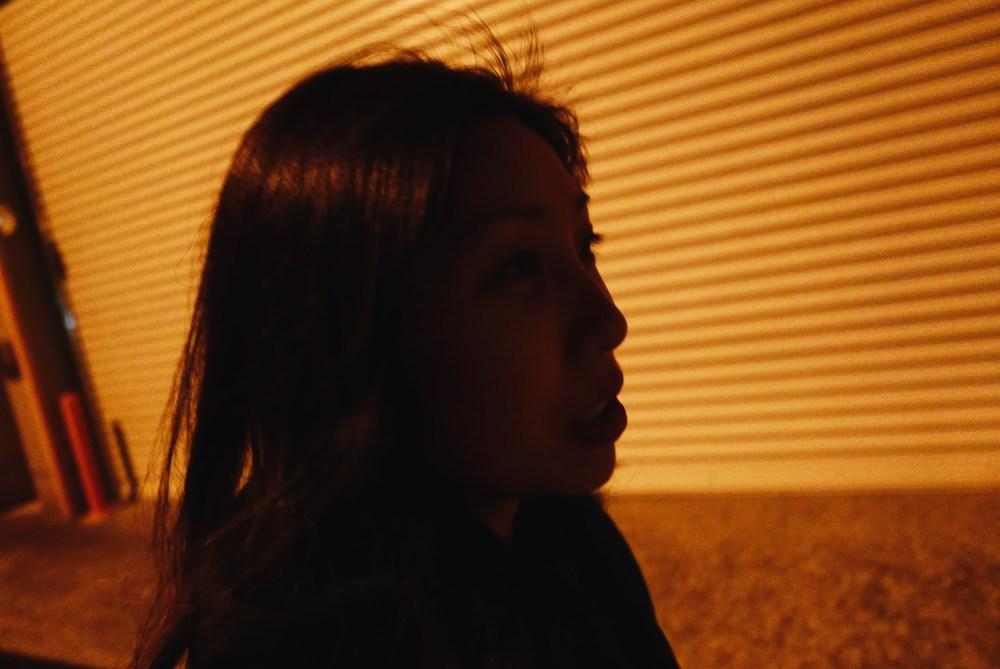Cindy walking at night