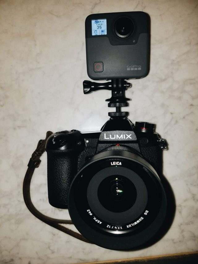 Lumix G9 with GoPro Fusion mounted