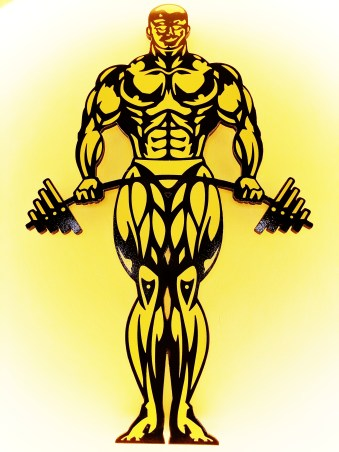 Power gold gym muscle yellow