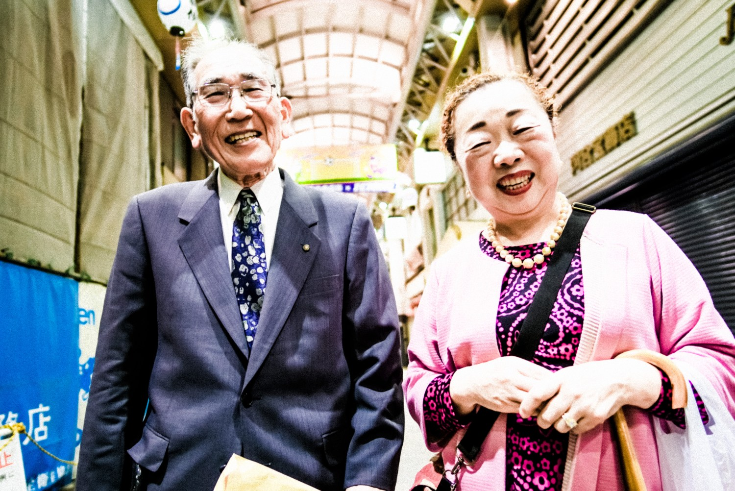 Old Japanese Couple smiling and laughing. Tokyo, 2018