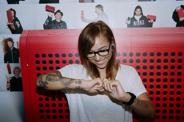 Tattoo Girl dancing berkeley flash Portra