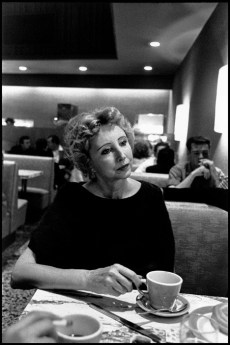 USA. California. Los Angeles. 1959. French-born author Anais NIN, sips coffee in Schwabs Drugstore.