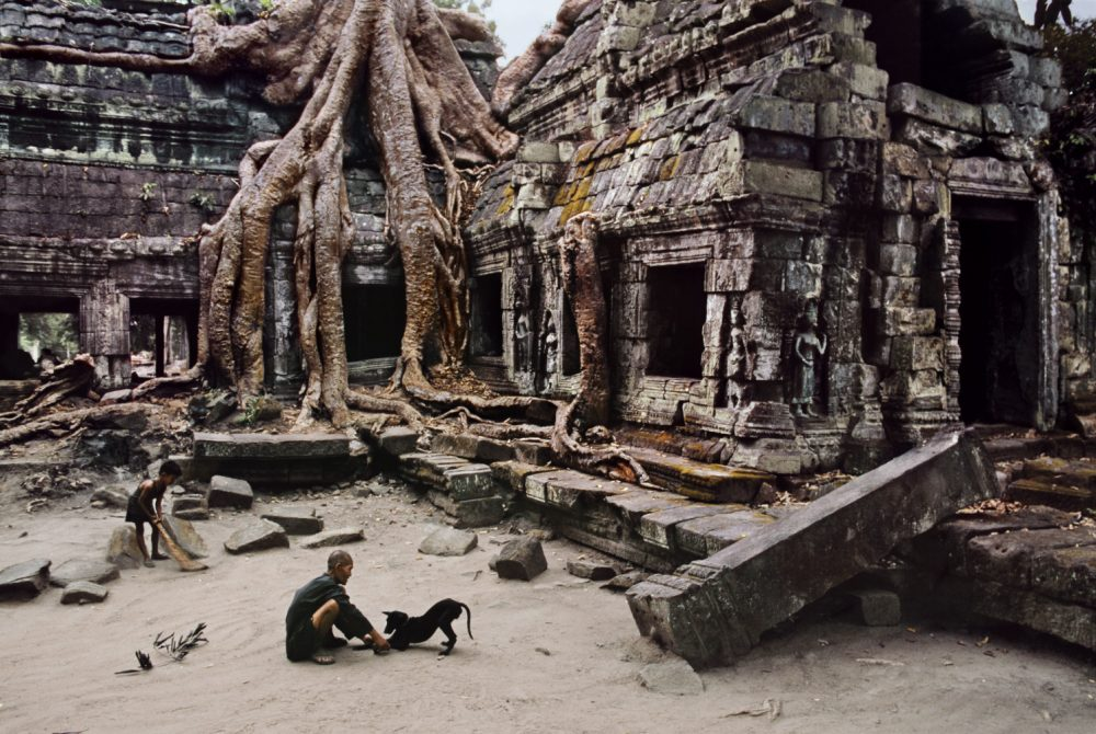CAMBODIA. Angkor. 1999. Caretaker of Ta Prohm Wat, a 2.5-acre temple housed within a walled 12th-century 148-acre complex.